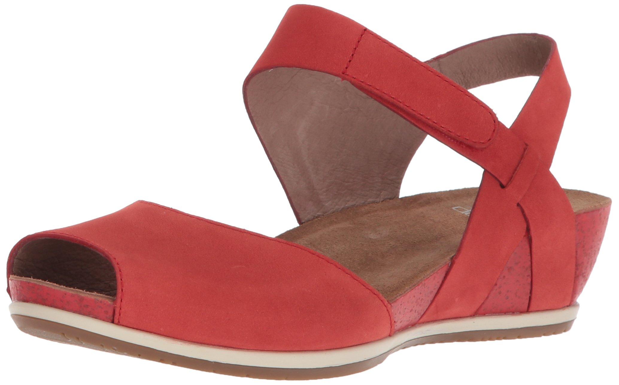 Dansko Women's Vera Flat Sandal, Tomato Milled Nubuck, 40 M EU (9.5-10 US)