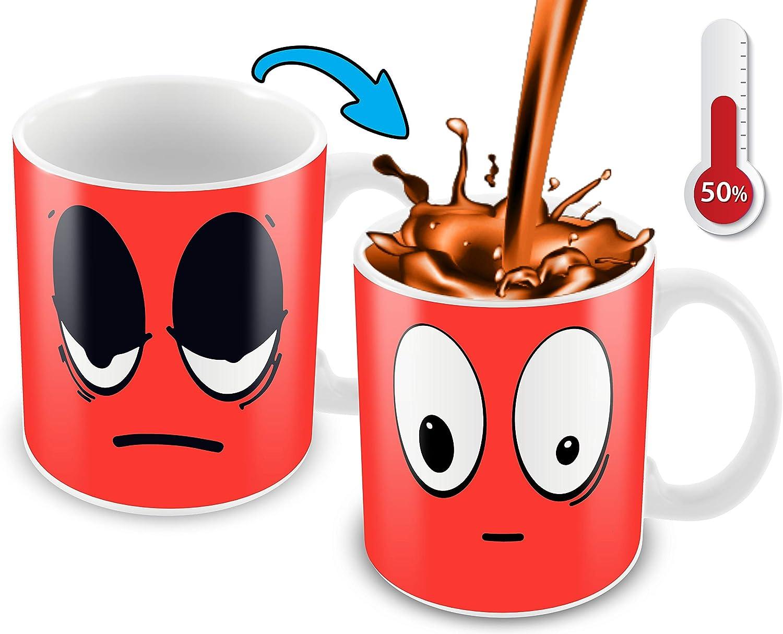 Cortunex Heat Changing Mug   11 Oz Ceramic Color Changing Coffee Mug   Funny Coffee Mug With Funny Red Wake Up Cartoon Smiley Face   Novelty Color Changing Mug