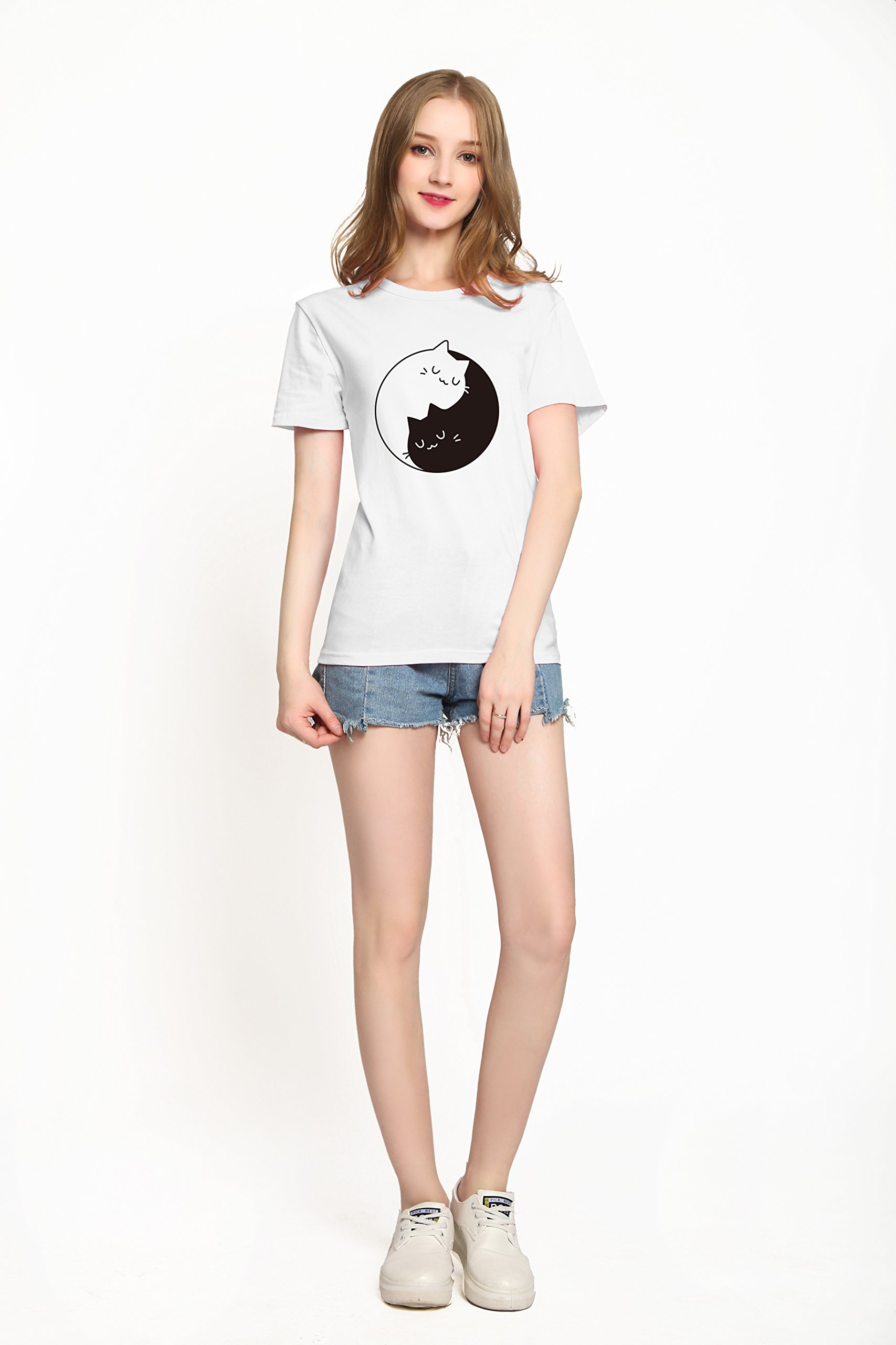 PINJIA Womens Cotton Letter Printed Pullover Tshirts Top Tees(MX15)(L, White Tai Chi Cat)