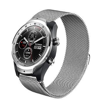 Aimtel para Ticwatch Pro Milanese Correa de Acero, 22 mm Milanese magnético de Acero Inoxidable Correa de Repuesto Accesorios para Tic Watch Pro ...