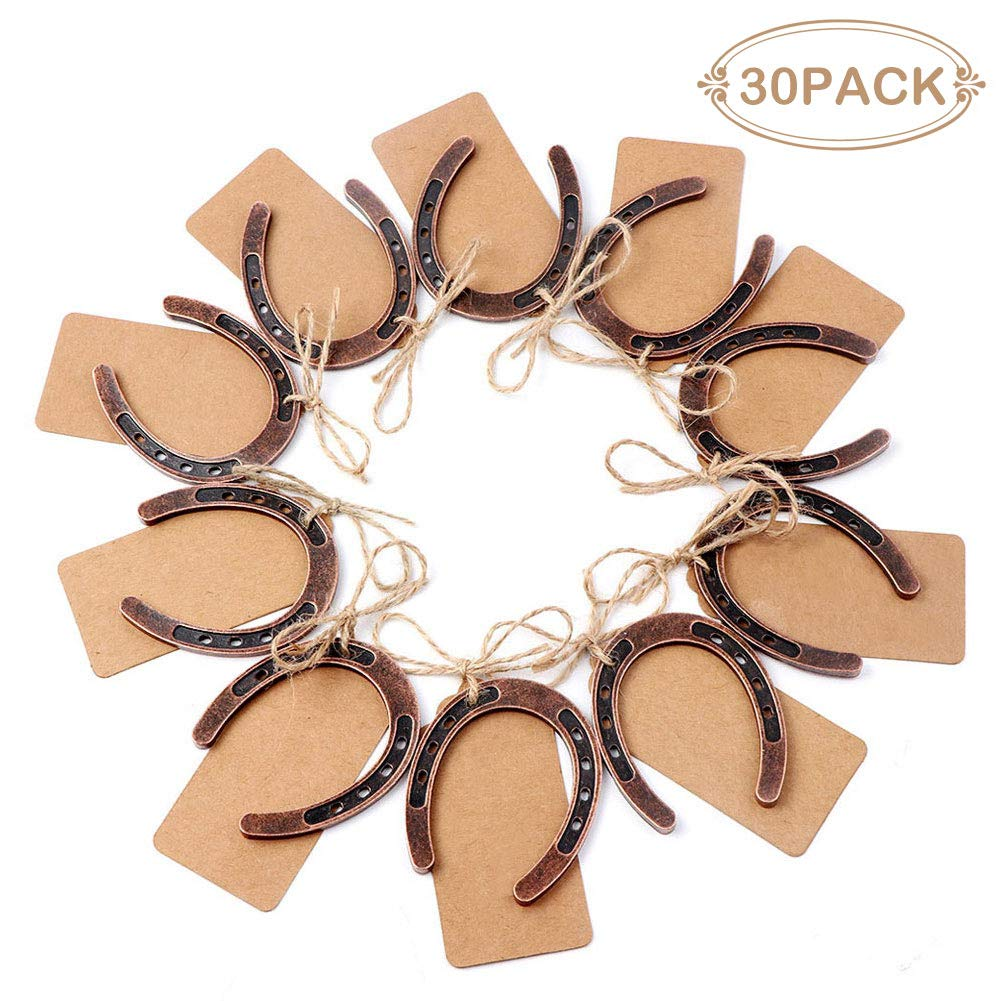 PartyTalk 30pcs Good Lucky Horseshoe Wedding Favors for Guests Rustic Horseshoes Gift Tags with String Vintage Wedding Decorations Party Favors