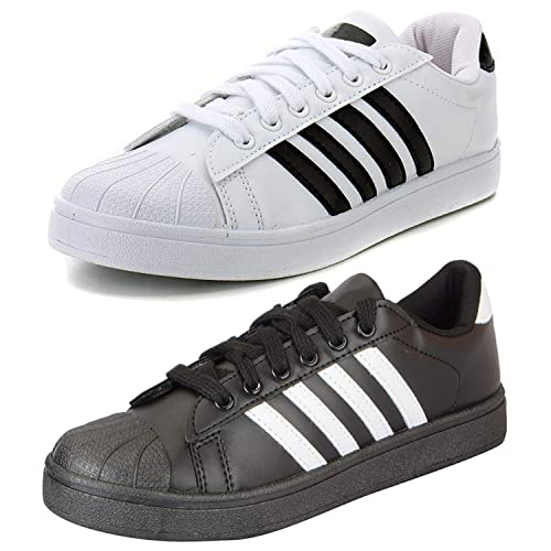 900ba661249e01 ETHICS Perfect Combo Pack of 2 White and Black Superstar Casual Sports  Sneakers for Men's (