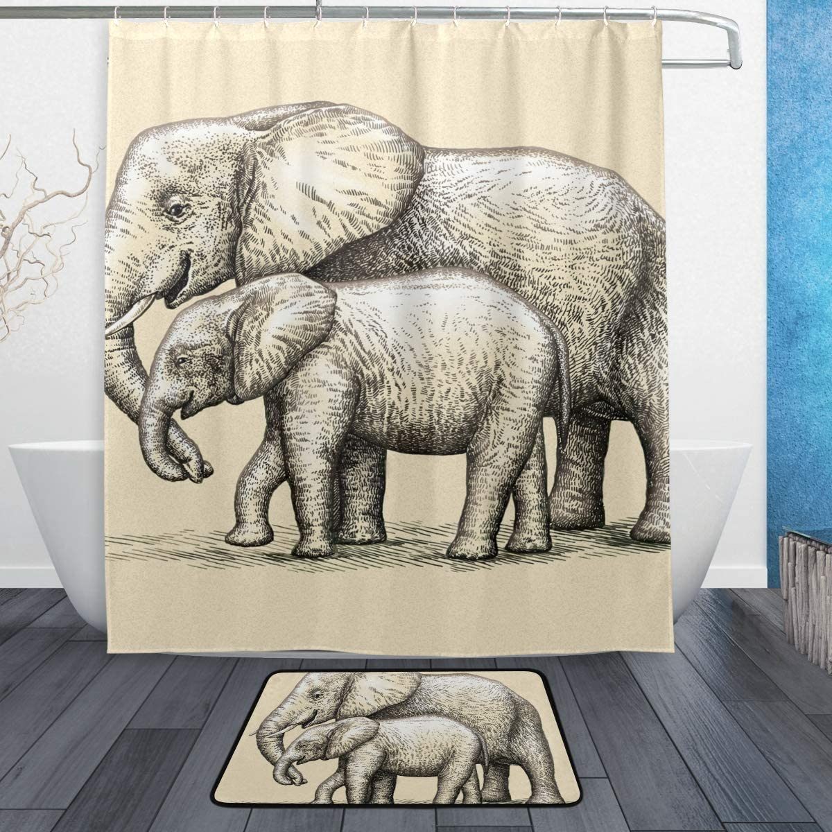 Elephant Mother with Baby Shower Curtain Set Bathroom Bathroom  Accessories 71/""