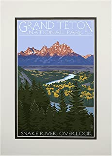 product image for Grand Teton National Park, Wyoming - Snake River Overlook (11x14 Double-Matted Art Print, Wall Decor Ready to Frame)