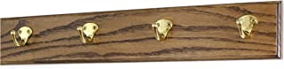 """product image for PegandRail Oak Coat Rack with Solid Brass Single Style Hooks (Walnut, 20"""" x 3.5"""" with 4 Hooks)"""