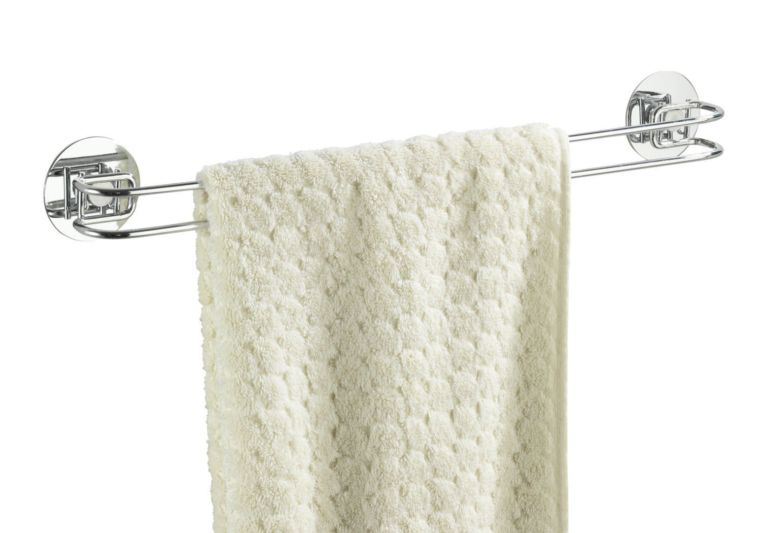 WENKO 18769100 Turbo-Loc shower towel rail - fixing without drilling, Steel, 46 x 6 x 5 cm, Chrome