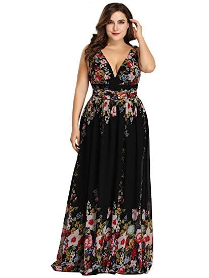 1a2a5f316 Ever Pretty Women s Sleeveless V-Neck Semi-Formal Maxi Dress Black and  Printed 8