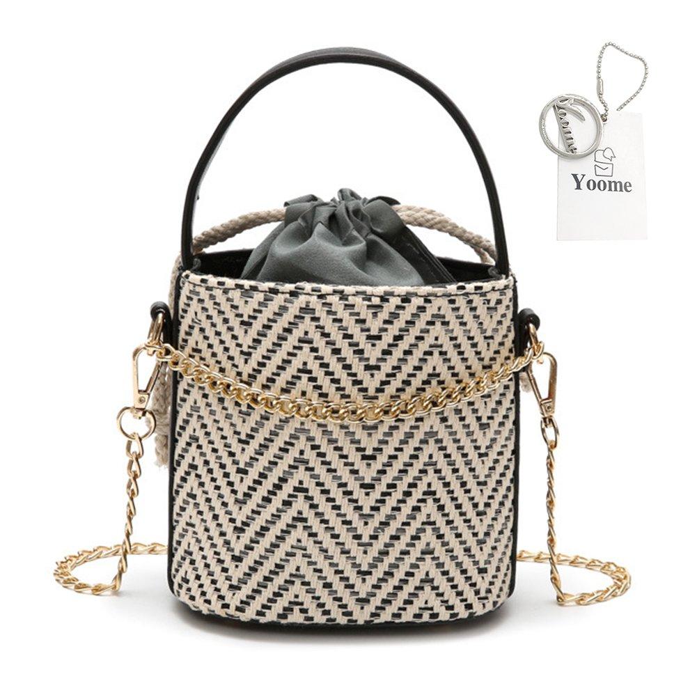 Yoome Drawstring Woven Top Handle Straw Bucket Women Chain Crossbody Shoulder Bags Beach Bag