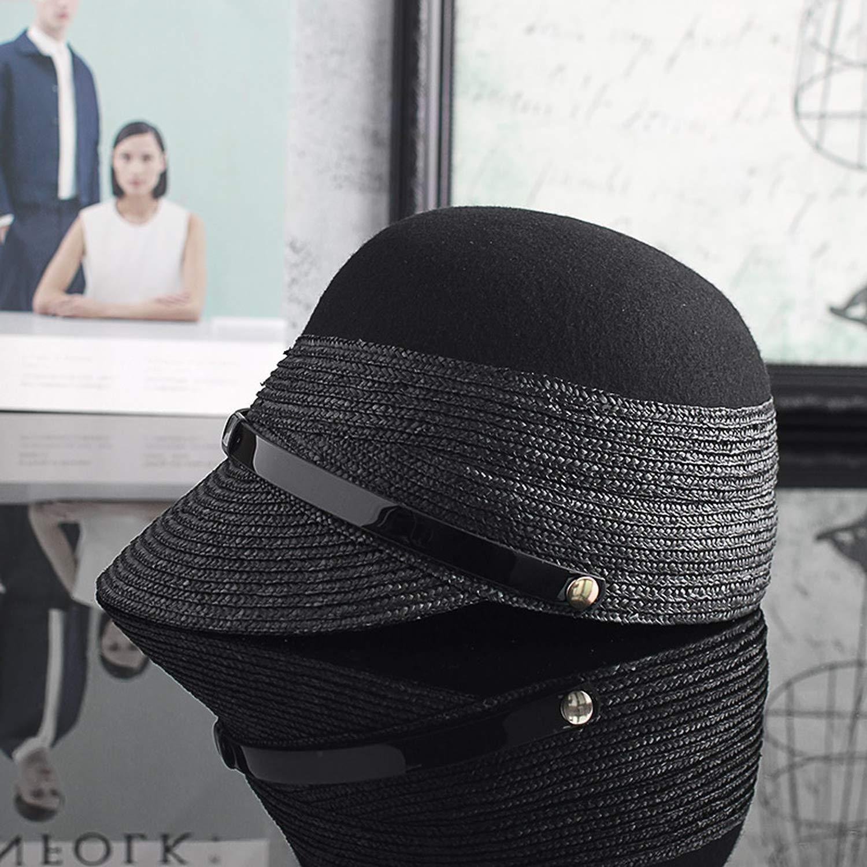 HEWPASKE Fashion Baseball Hat Knitted Straw Wool Mixed Hat Girls Equestrian Cap Knights Hat Fashion Autum Tongue Cap