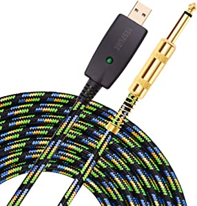 YESPURE USB Guitar Cable 10Ft,USB Guitar Interface Male to 6.35mm 1/4 inch Gold-Plated TS Mono Plug,Nylon Braid Recording Cable Compatible with Windows Mac OS for Guitar,Bass,Microphones,and More