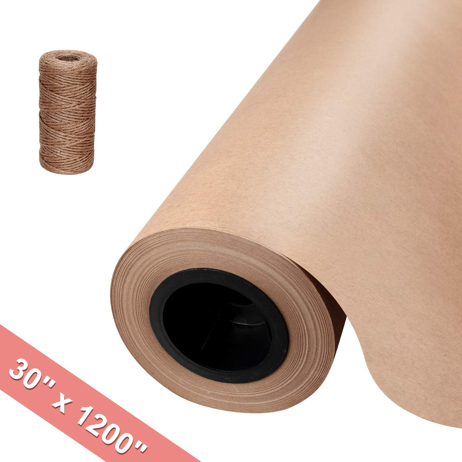 """Brown Kraft Butcher Paper Roll - 30"""" x 1200"""" (100 ft) Natural Food Grade Brown Wrapping Paper for BBQ Briskets,Smoking & Wrapping Meats - Unbleached Unwaxed and Uncoated"""