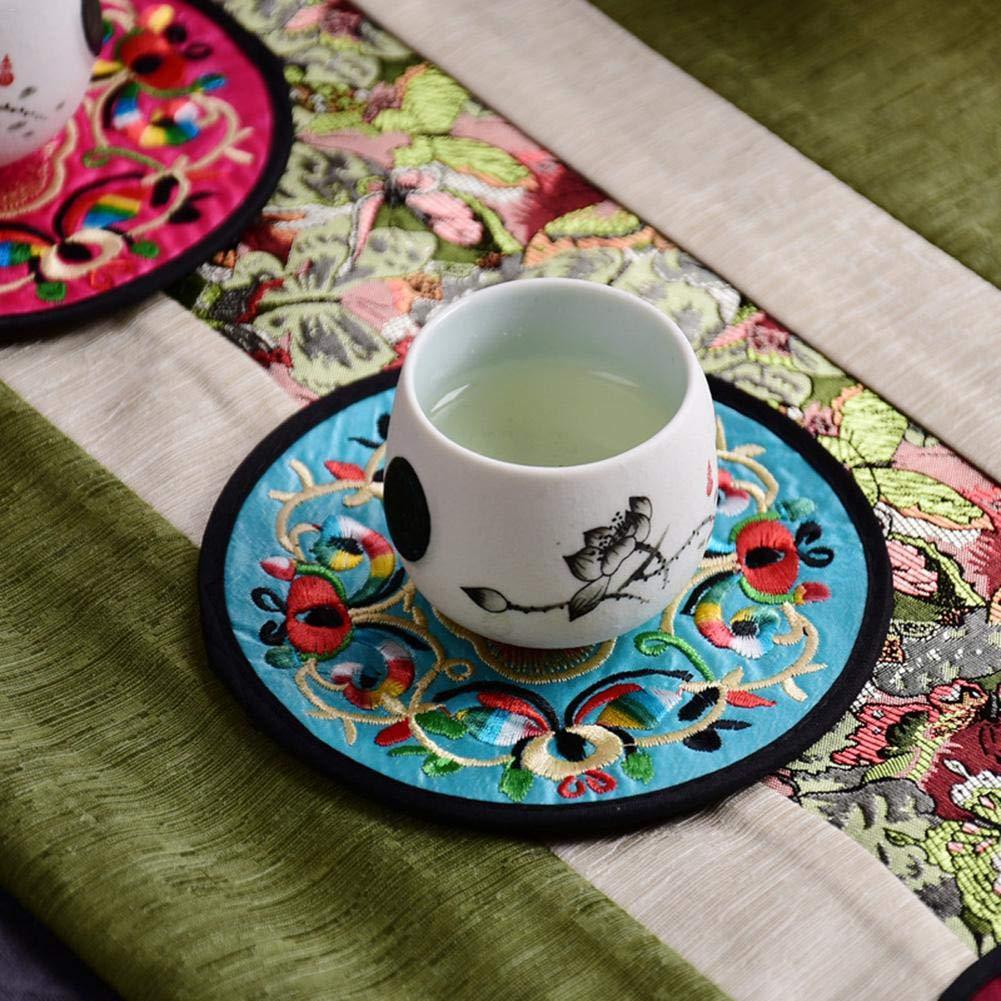 Luckybaby 10 Unids Coj/ín de Aislamiento Creativo Vintage /Étnico Dise/ño Floral Estera de la Taza de T/é Redondo Bordado Pr/ácticos de Costa