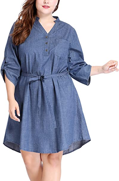 uxcell Women\'s Plus Size Roll Up Sleeves Above Knee Belted Denim Shirt Dress