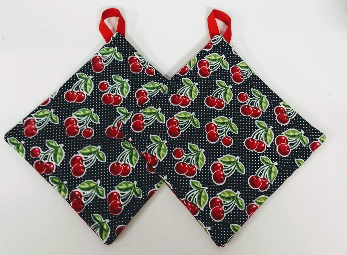 Cherry with Red and Black Polka Dot Reversible Potholder Set