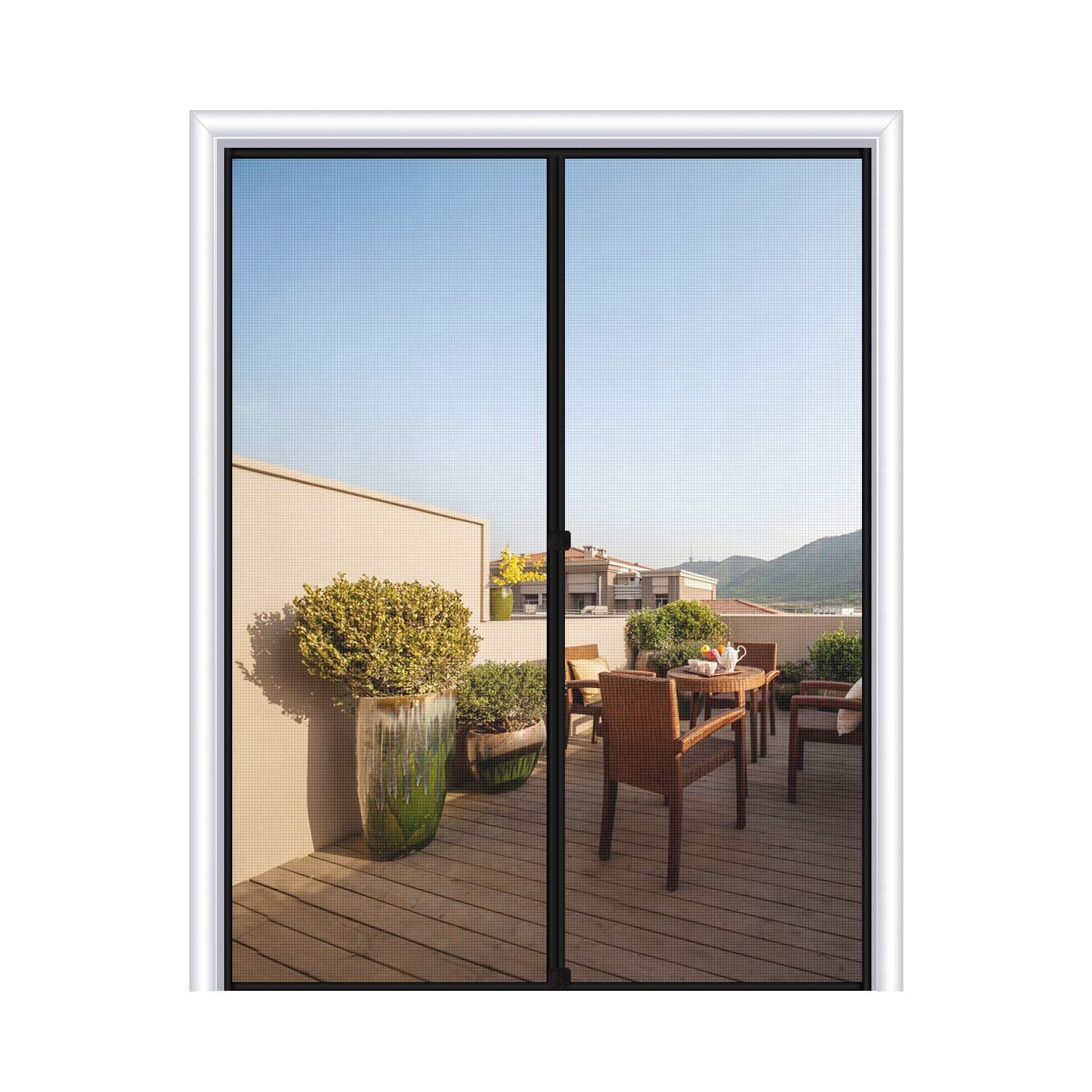 MAGZO Magnetic Screen Door 72 x 80, Fiberglass French Door Mesh Curtain with Heavy Duty Fits Door Size up to 72''x80'' Max-Grey by MAGZO