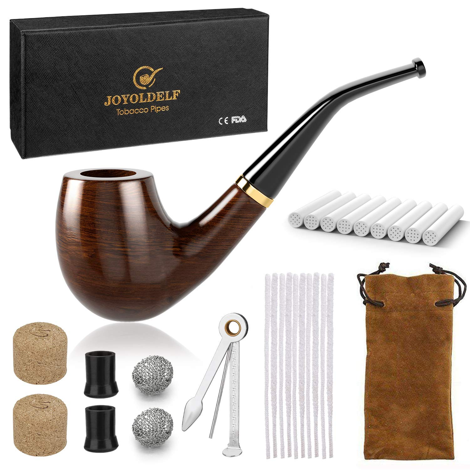 Joyoldelf Wooden Tobacco Smoking Pipe, Pear Wood Pipe with Pipe Cleaners, 9 mm Pipe Filters, 3-in-1 Pipe Scraper, Pipe Bits, Metal Balls, Cork Knockers, Bonus a Pipe Pouch with Gift Box by Joyoldelf