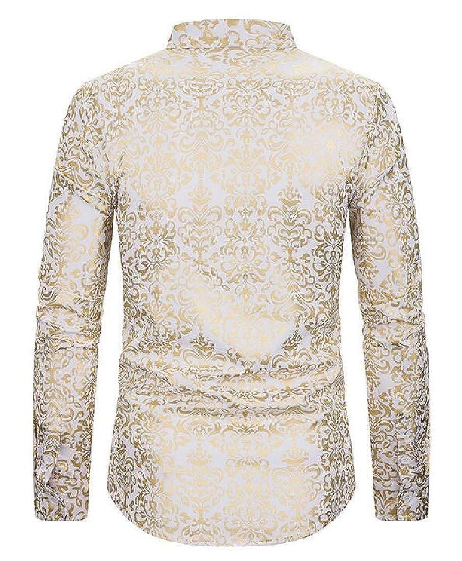 pipigo Mens Business Slim Fit Printed Long Sleeve Casual Button Up Dress Shirt