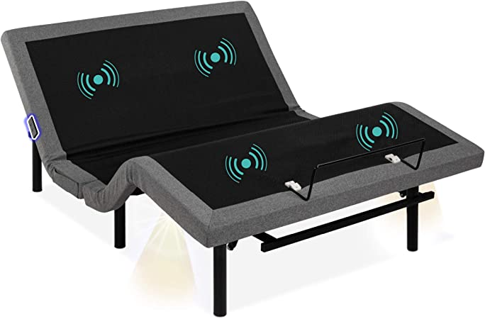 Best Choice Products Ergonomic Queen Size Adjustable Bed, Zero Gravity Base for Stress Management w/Head and Foot Incline, Wireless Remote Control, Massage, Under-Bed Nightlight, and USB Ports