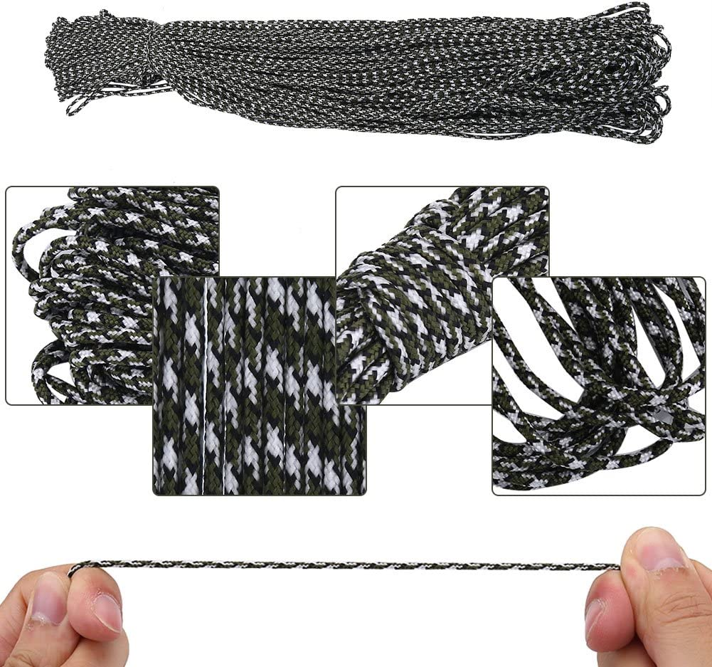 Zerone 15 M//50Ft Paracord Bracelet Rope Strength Utility Cord 2mm//0.08inch Outdoor Camping Hiking Weaving DIY Craft Tool Survival Rope Cord