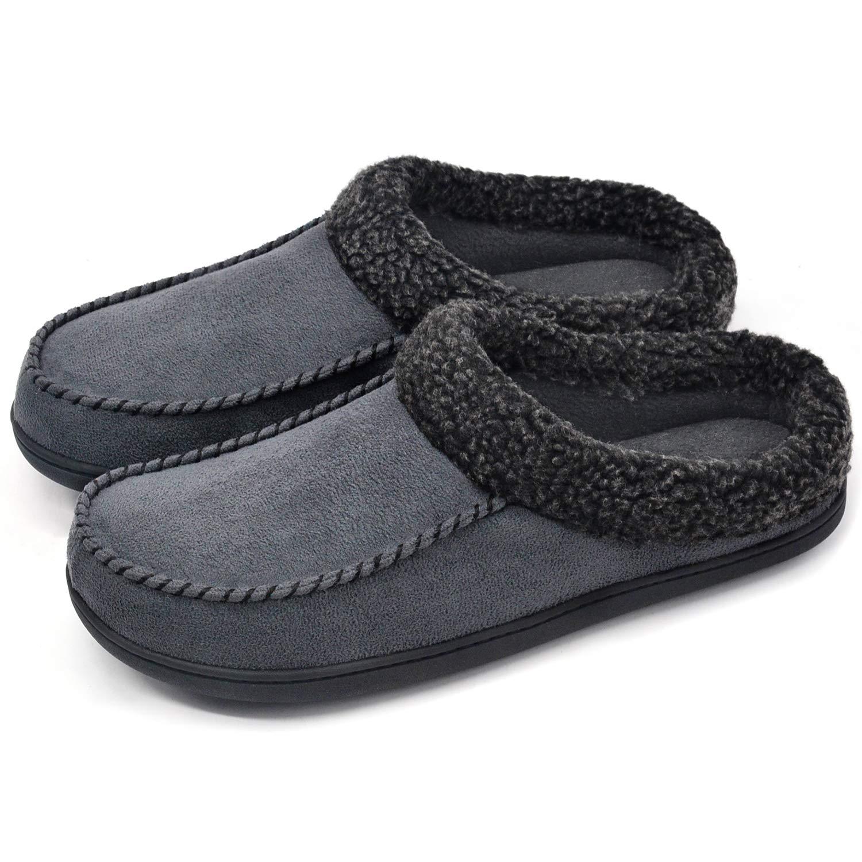 ULTRAIDEAS Men's Comfort Suede Memory Foam Slippers Non Skid House Shoes w/Faux Shearling Collar (Medium / 9-10 D(M) US, Dark Gray)