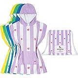 Kids Poncho Microfibre towel (Purple Violet, Small) - child bath robe poncho includes drawstring bag
