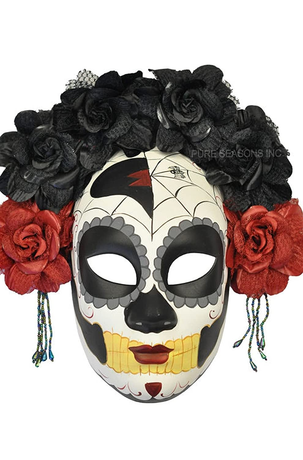 Mememall Fashion La Calavera Catrina Skeleton Skull Masquerade Mask (Black/Red)