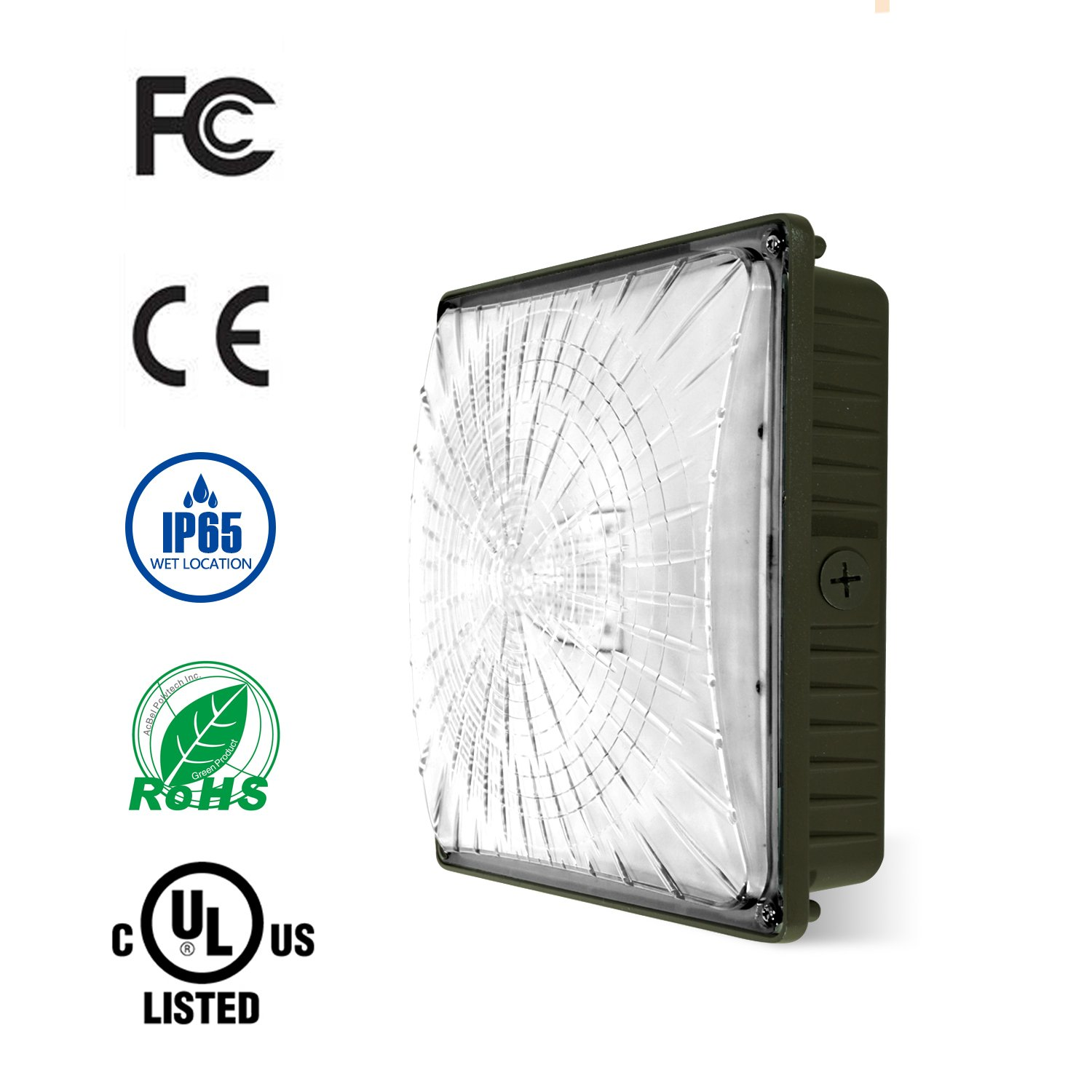EVE 45W LED Canopy Light , 175-200W HPS/HID Replacement, 5000K Daylight White, 0-10V Dimmable 5300 Lumens, 10'' x 10'', IP65 Waterproof and Outdoor Rated, DLC-Qualified and UL-Listed