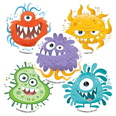 Silly Germ Stickers - Prizes 100 per Pack: Toys & Games