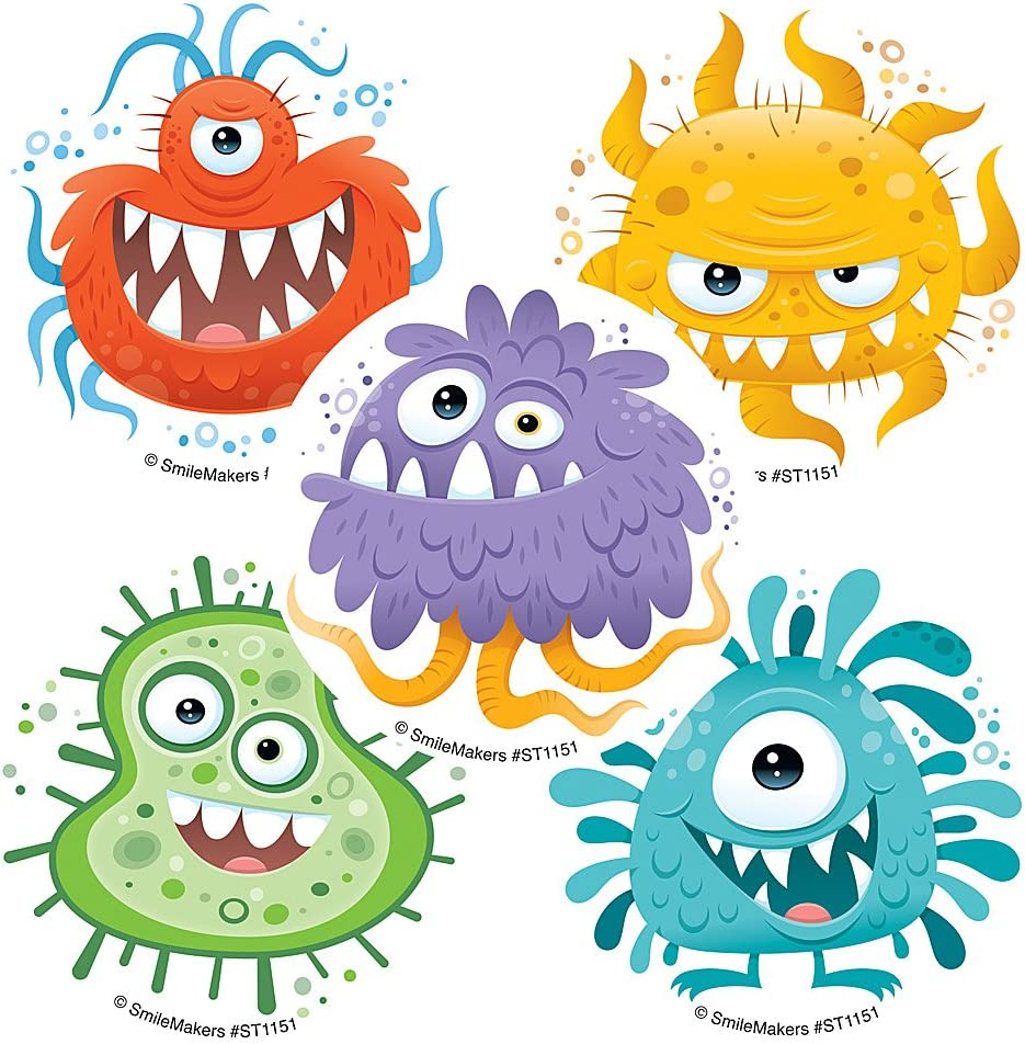 Silly Germ Stickers - Prizes 100 per Pack