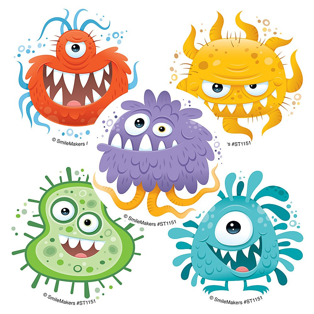 Silly Germ Stickers - Prizes and Giveaways - 100 per Pack