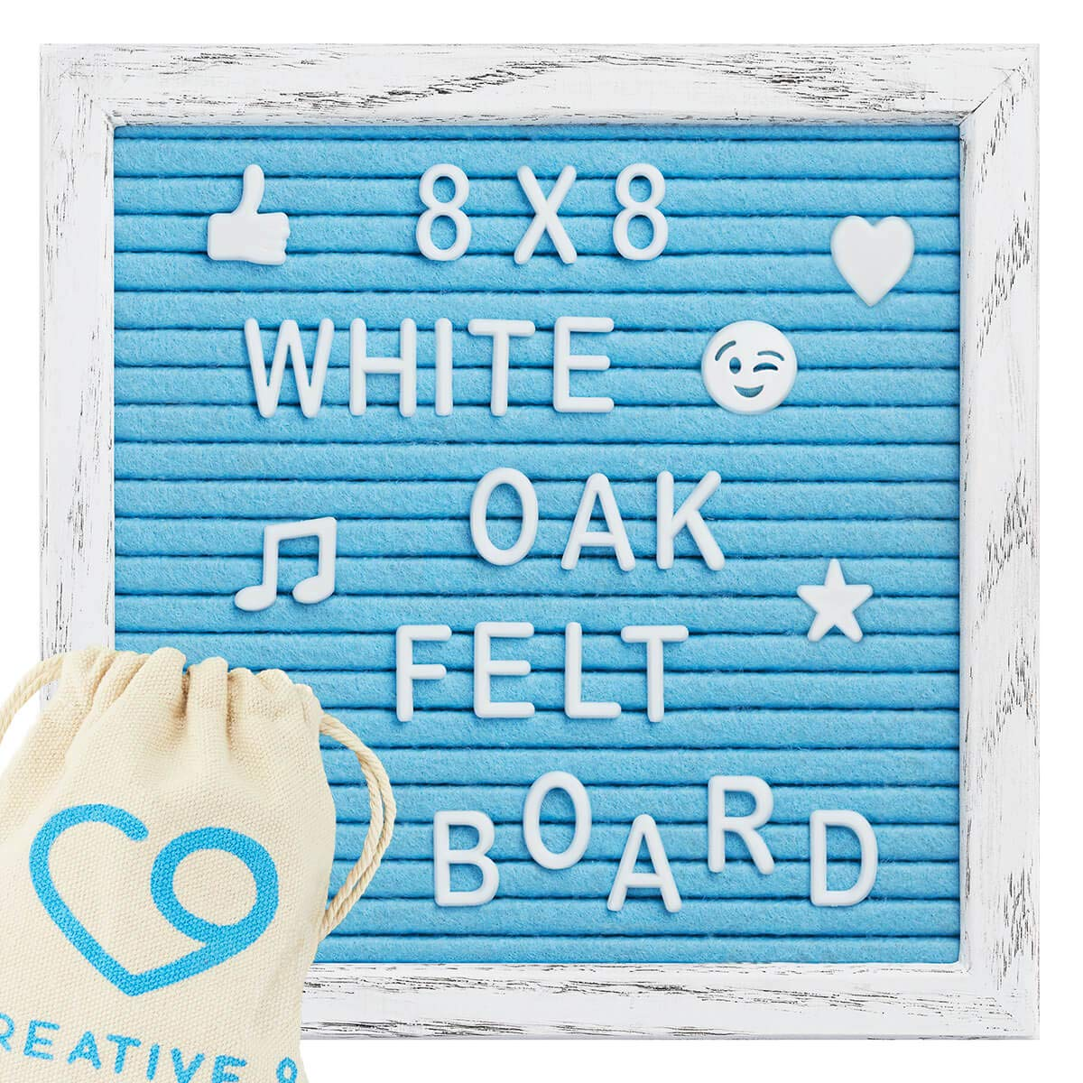 Felt Letter Board - 8x 8 Vintage Rustic Oak Frame, Stand, Canvas Bag, Wall Mount - 346 Letters, Numbers, Emojis | Message Board, Word Board, Letterboard for Home Or Office Decor (Pink) Creative 9