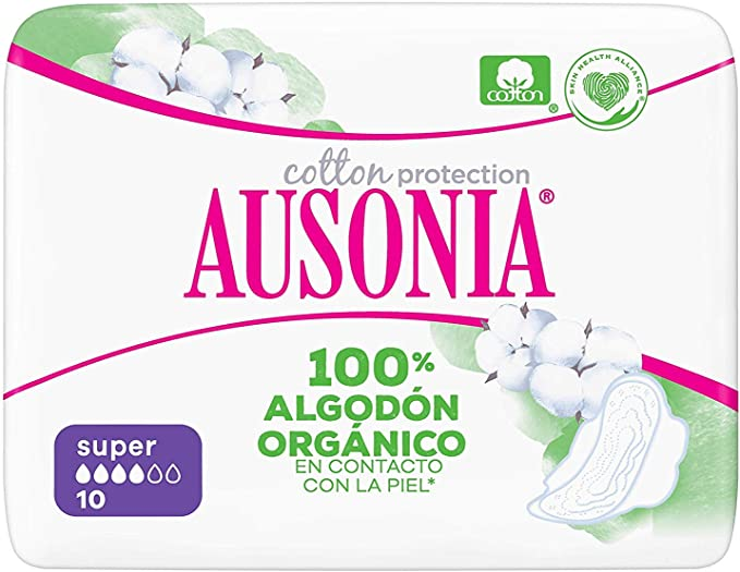 Ausonia Cotton Protection Super (tamaño 2) Compresas Con Alas, 10 ...