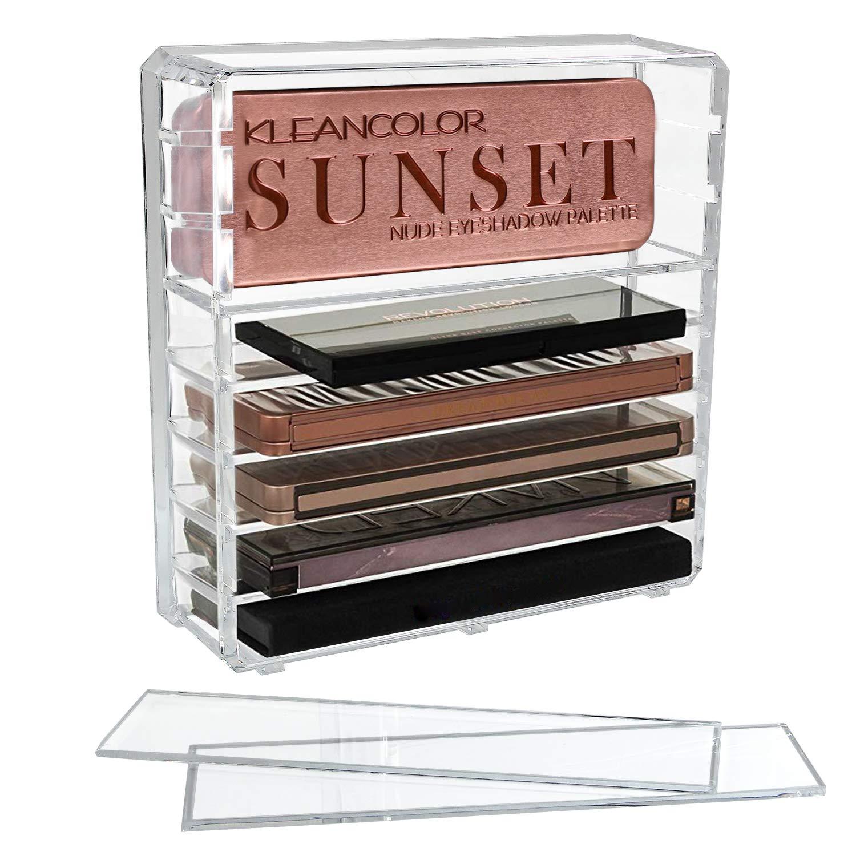 Organizador de Maquillaje de acr/ílico Transparente con Ocho estantes Ajustables Sombras de Ojos Discoball Soporte de Almacenamiento para paletas Colorete