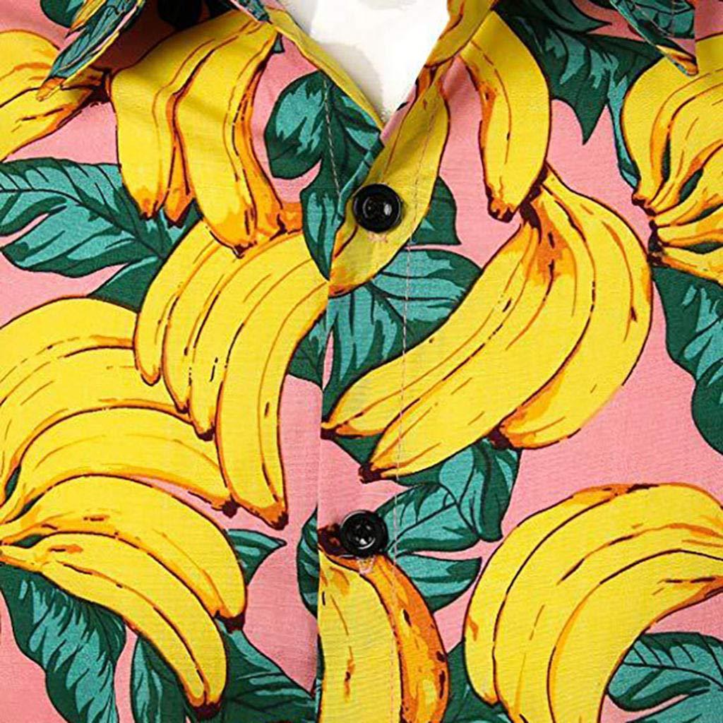 REFURBISHHOUSE Camiseta Blusa Tunica Chaleco De Color Puro De Manga Corta Apto Delgado Boton De Solapa De Estampado Platano Vacacion De Plya De Verano De Hombre Amarillo S