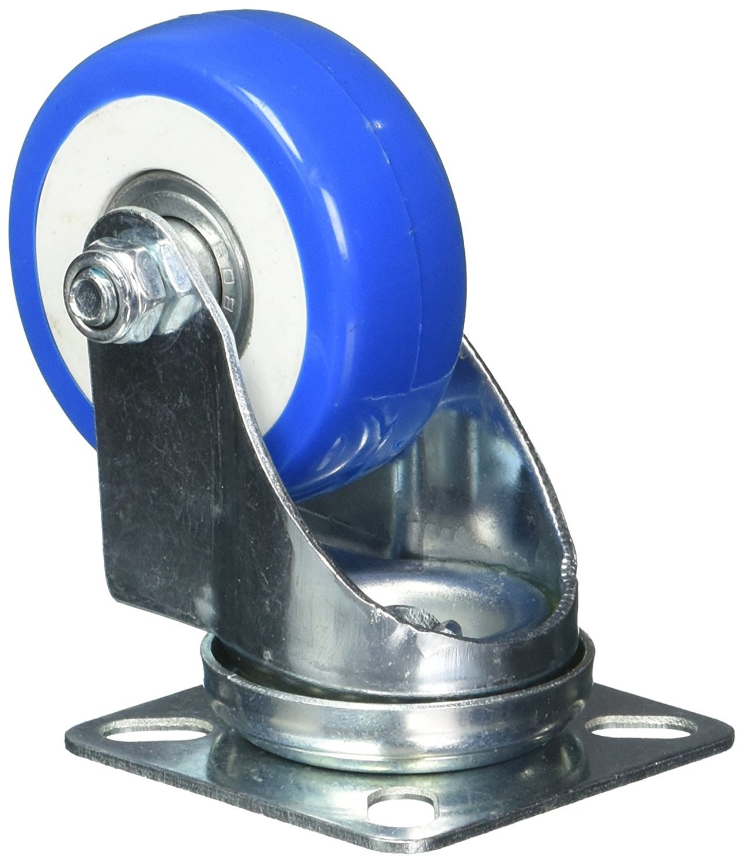 Two inch Plate 12 Pack Black Duck Brand Caster Wheels Swivel Plate On Blue Polyurethane Wheels