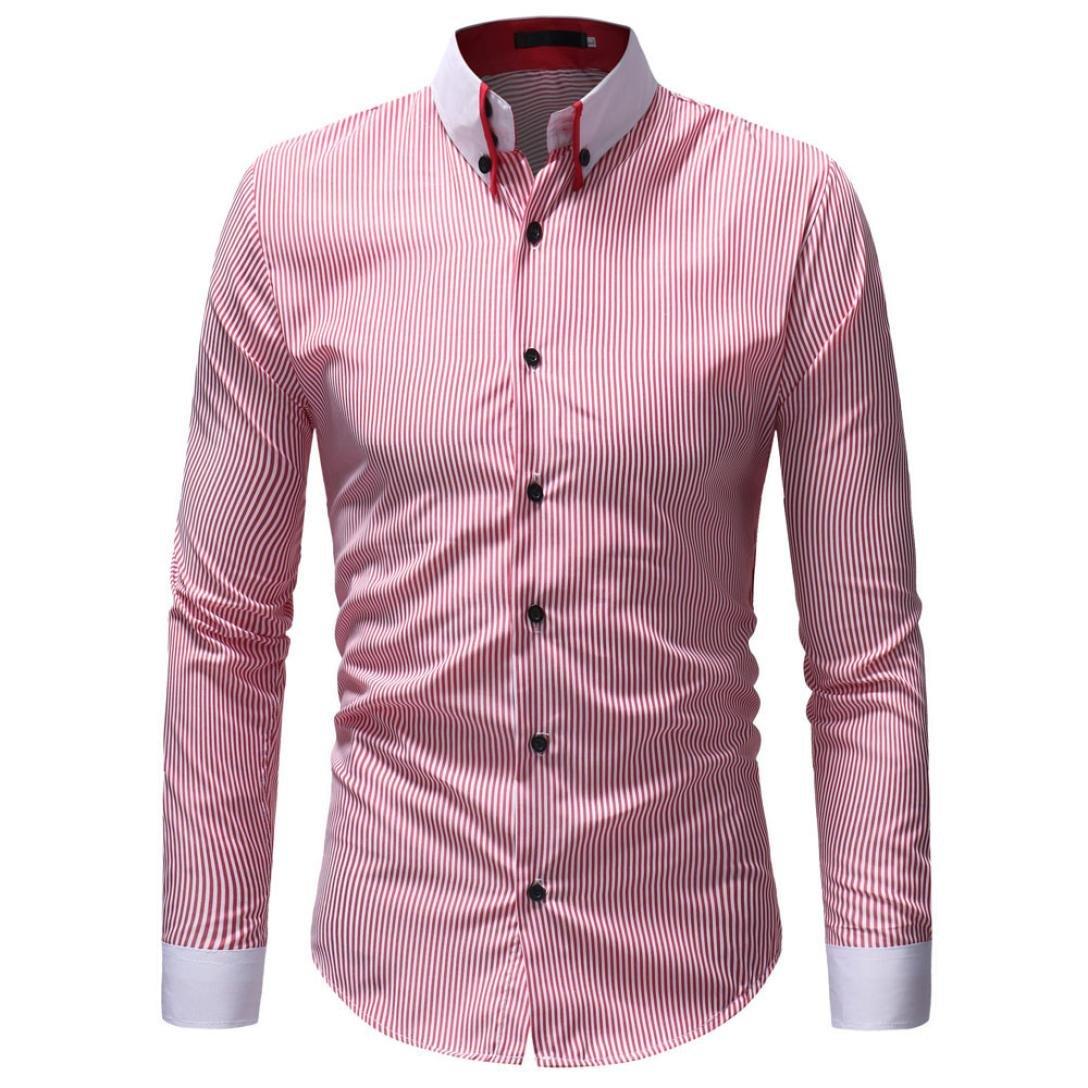 HTHJSCO Men's Slim-Fit Long-Sleeve Shirt, Men's Autumn Winter Casual Striped Print Long Sleeve Button T-Shirt Top Blouse (Pink, XXXL) by HTHJSCO