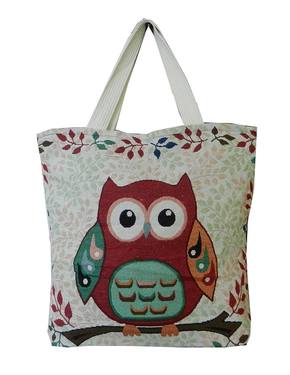 8ec8f97f85a BTP! Owl Designer Travel Tote Beach Bag Simplicity Handbag Canvas Cotton  Purse - More Design