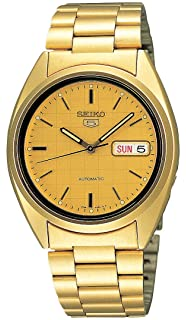 Seiko Mens SNXL72 Seiko 5 Automatic Gold-Tone Stainless Steel Bracelet Watch with Patterned Dial