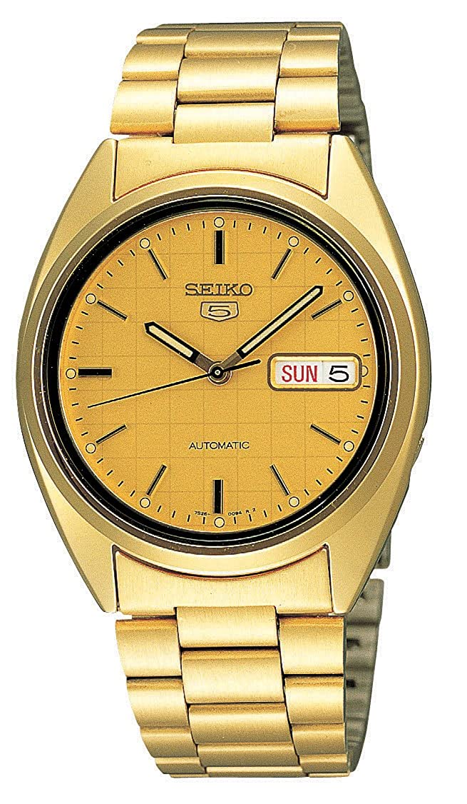 b02a7fb14 Buy Seiko Men's SNXL72 Seiko 5 Automatic Gold-Tone Stainless Steel Bracelet  Watch with Patterned Dial Online at Low Prices in India - Amazon.in
