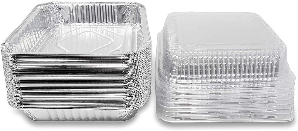 Salt&Seas 35 unidades de bandejas de horno cuadradas con tapas, tamaño 8 pulgadas por 8 pulgadas, latas de aluminio desechables: Amazon.es: Hogar