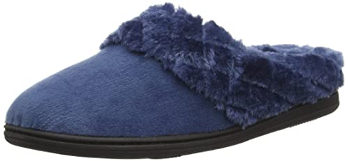 DearfoamsVelour Clog With Quilted Pile Cuff and Memory Foam - Pantofole  donna, Blu (Blu