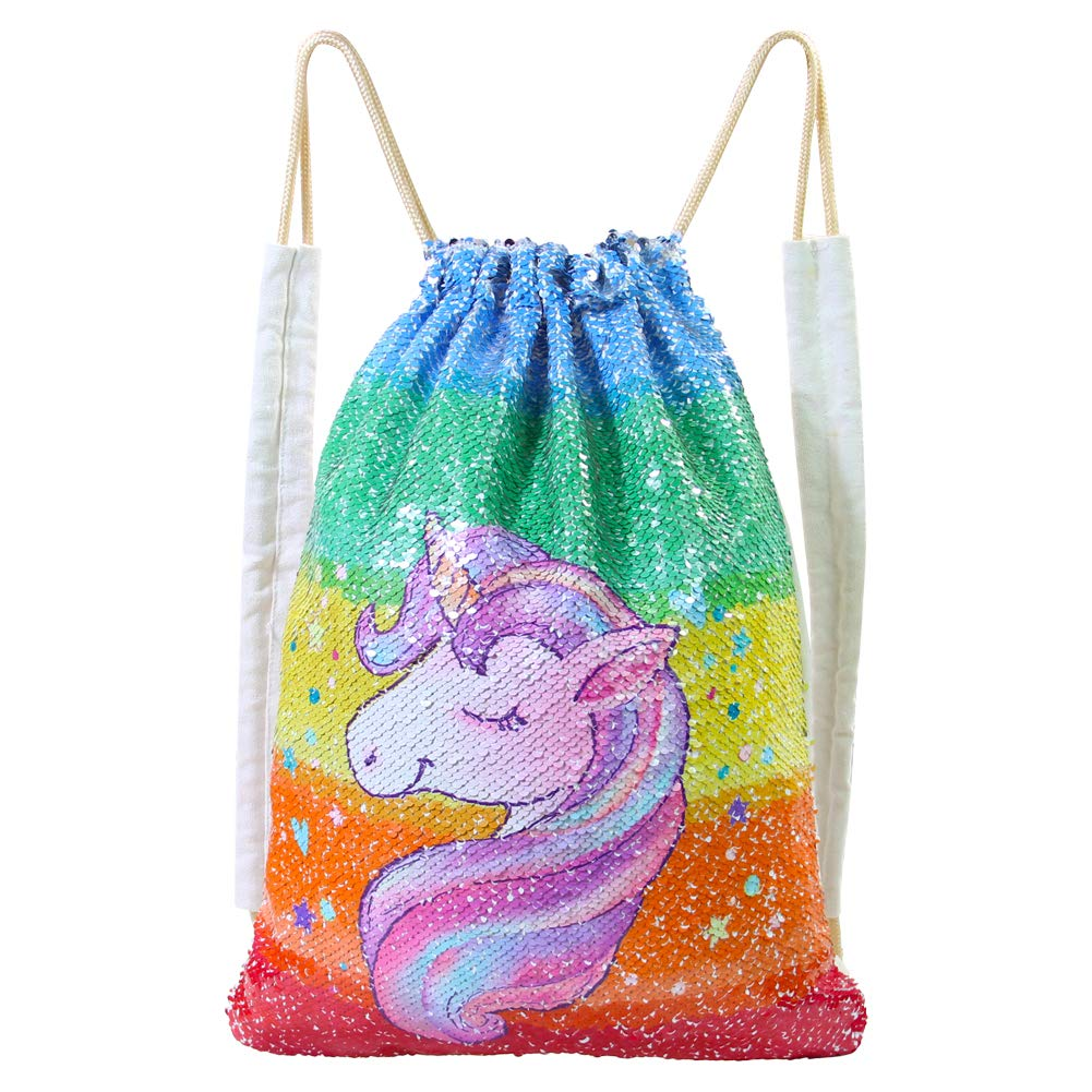 Basumee Unicorn Mermaid Sequin Bag Reversible Sequins Drawstring Backpacks Grlawn LK-BAG01201@#GRLA