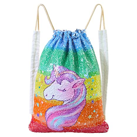 89a4d0ab910 Basumee Unicorn Mermaid Sequin Bag Gym Bags Reversible Sequins Drawstring  Backpacks  Amazon.ca  Luggage   Bags