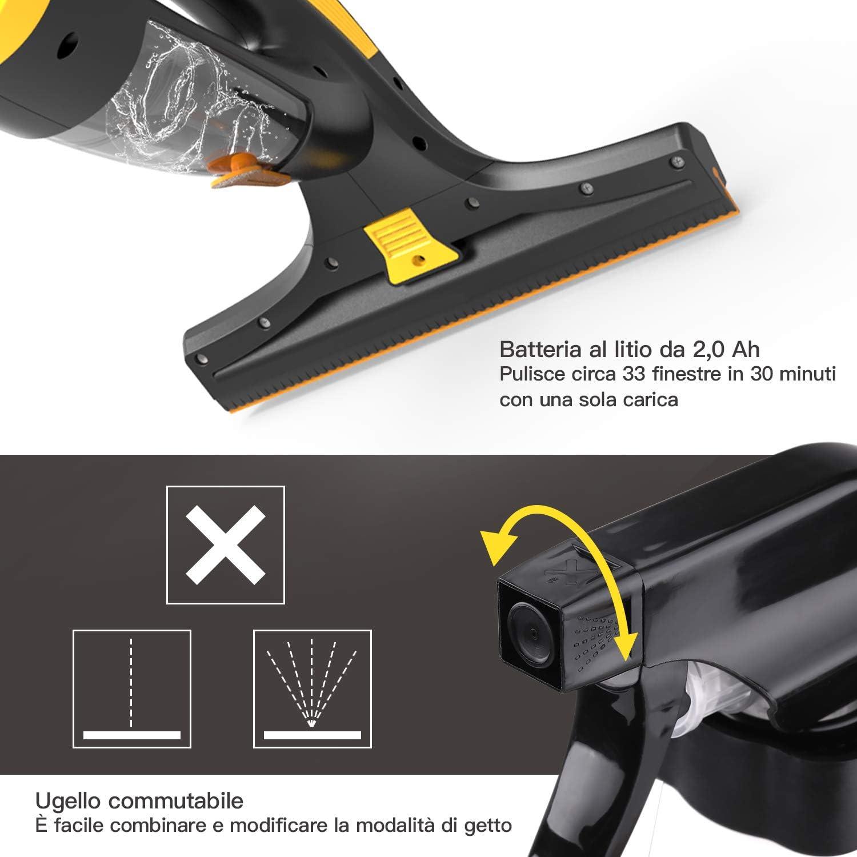 TECCPO Limpiador de Ventanas, 3.6V Aspirador de Ventanas Eléctrico ...