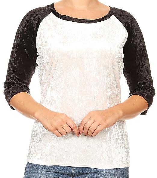 b9a5cd655c9 BNY Corner Women Plus Size Crushed Velvet Color Block Raglan Blouse Knit  Top Tee Black XL