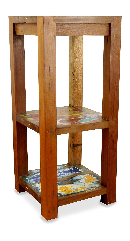 Asia Wohnstudio Java Regal | Beistelltisch aus recyceltem Teakholz | Regal aus Massivholz | Asia Möbel der Marke Nachttisch | Blumen Podest | Blumensäule
