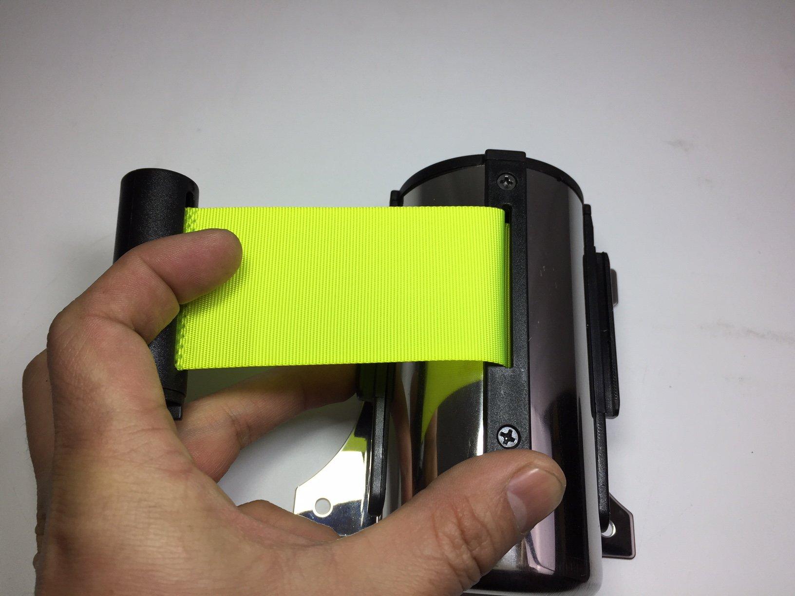 FixtureDisplays Stanchion Queue Barrier Post Wall Mount Retractable Ribbon 10' Belt Neon Green by FixtureDisplays