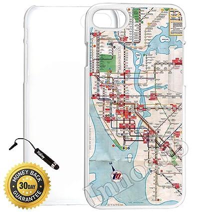 Amazon com: Custom iPhone 7 Case (Vintage Manhattan Subway Map NY