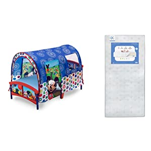 Delta Children Toddler Tent Bed, Disney Mickey Mouse + Delta Children Twinkle Galaxy Dual Sided Recycled Fiber Core Toddler Mattress (Bundle)