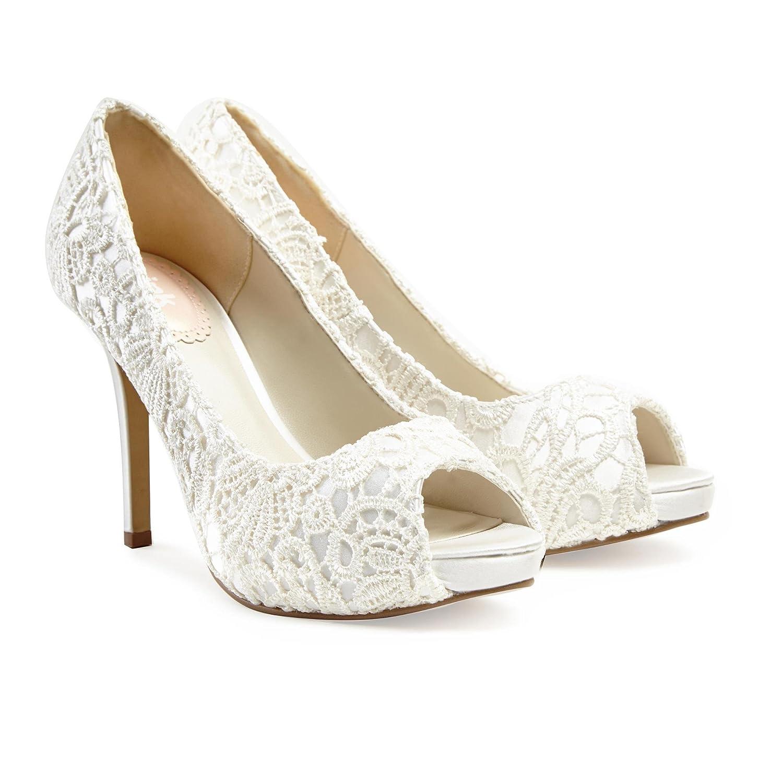 7bf0d26e1b Paradox London Pink Peep Toe Lace Platform Obsession Wedding Shoes - Ivory  - UK 7 / EU 40: Amazon.co.uk: Shoes & Bags